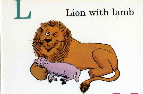 Lion with conspiratorial wink with lamb