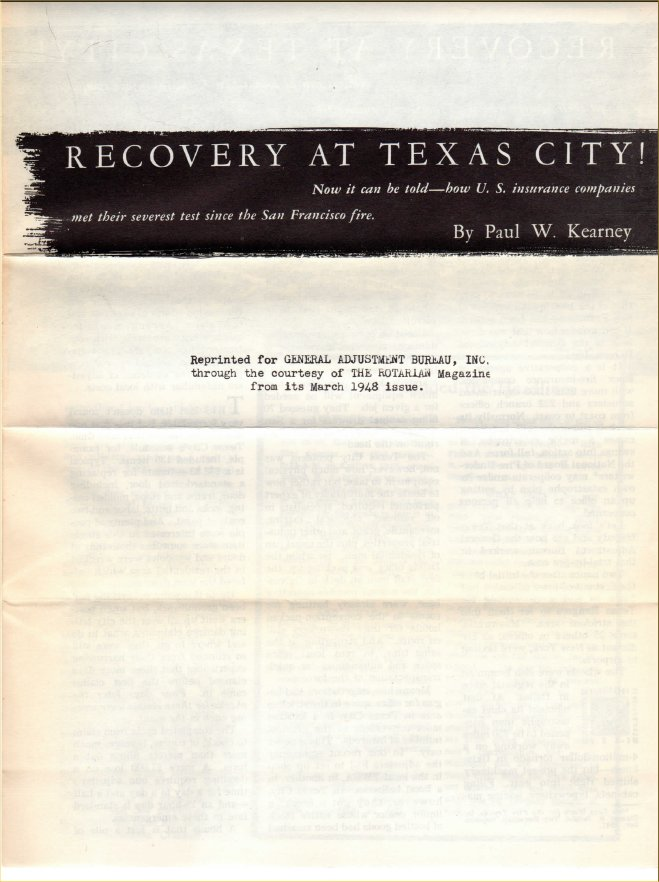 Recovery at Texas City! article reprint