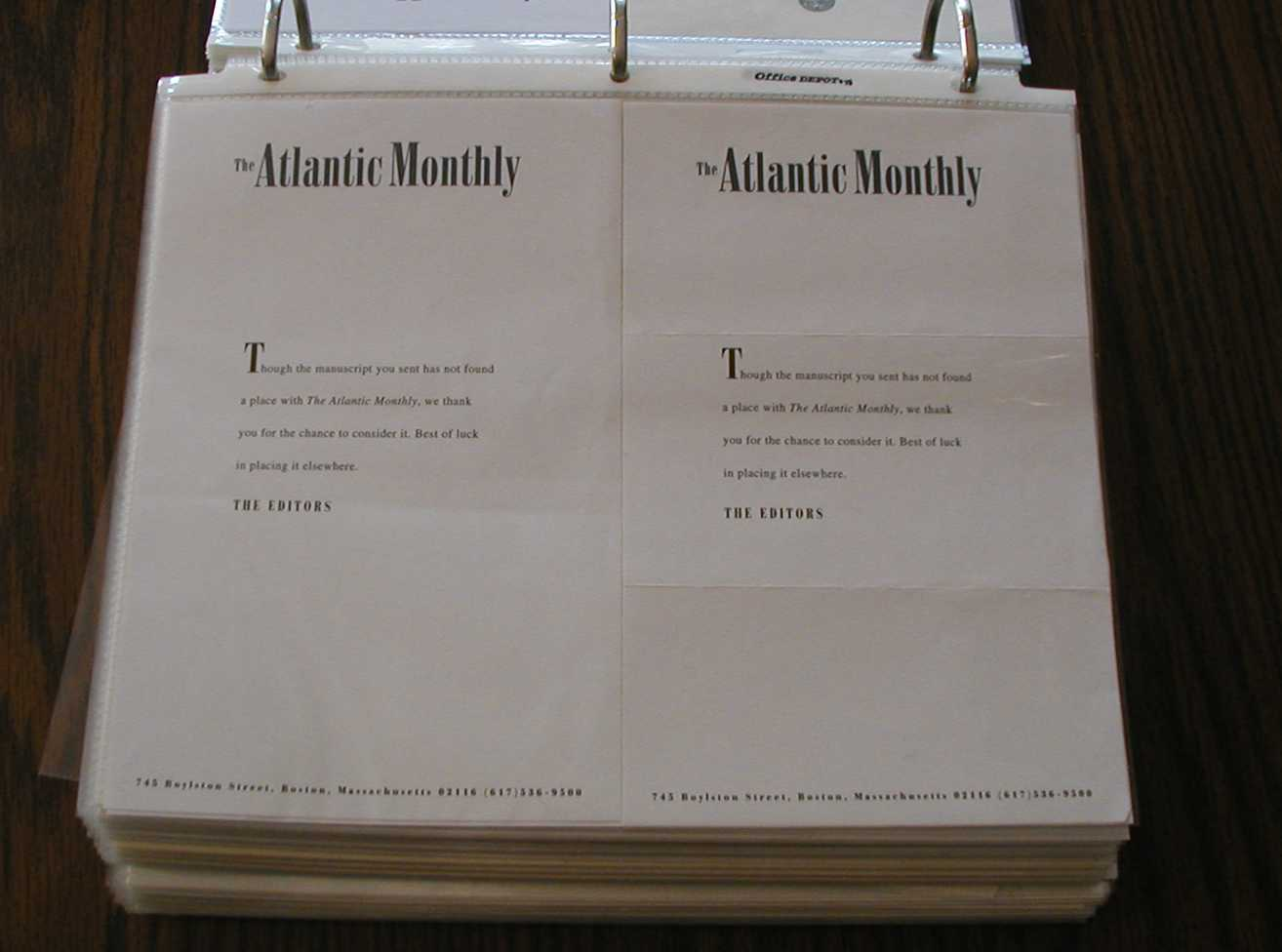 Atlantic Monthly rejections