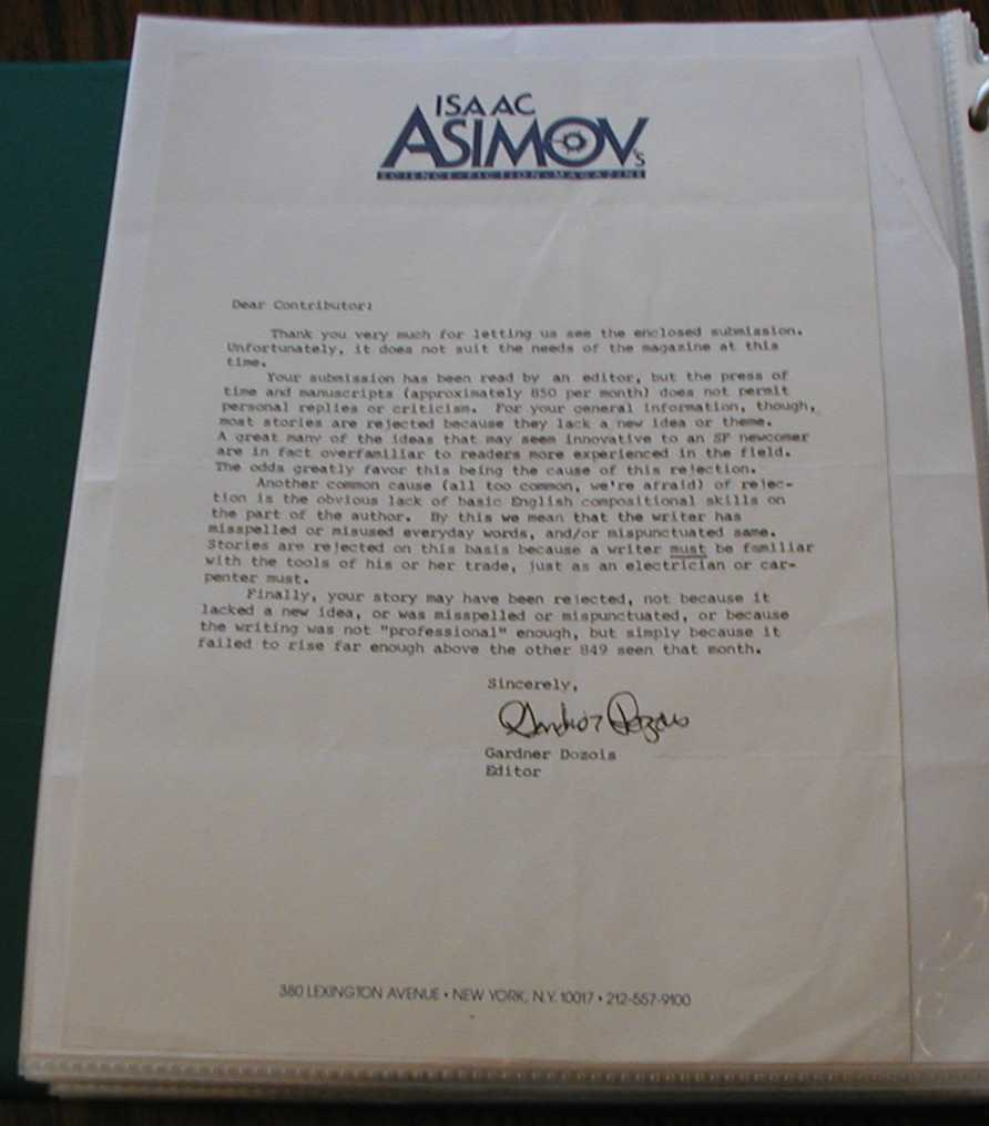 Isaac Asimov Science Fiction Magazine rejection