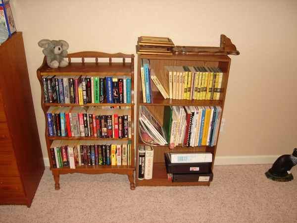 The guest room bookshelves