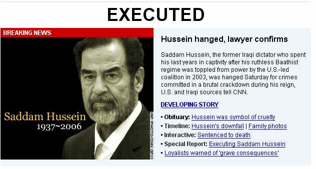 Saddam Hussein death graphic